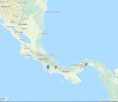 Карта, показваща Голфито (Коста Рика)