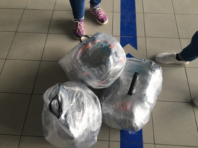 Bags wrapped in uhm... airport plastic wrap